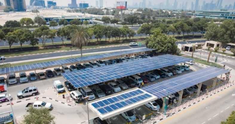 مواقف سيارات بالطاقة الشمسية في دبي